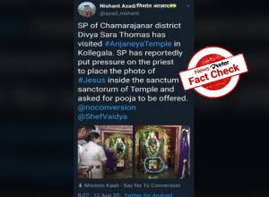 Fact Check: No, Karnataka cop did not force temple priest to worship Jesus