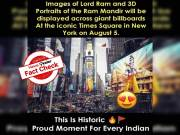 Msg claiming images of Lord Ram and Ram Mandir will be displayed at NY billboard is TRUE