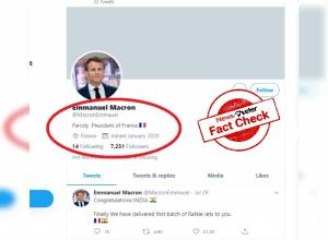 French President's message on Twitter congratulating India on acquiring Rafale Jets is FALSE