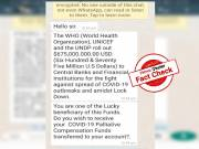 WhatsApp message offering money under alleged Palliative Funds by UN and WHO is FALSE