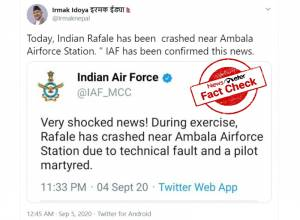 Fact check: Viral claim that Rafale jet crashed at Ambala Airbase is Fake