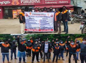 Swiggy delivery executives go off road In Hyd; demand old incentive scheme