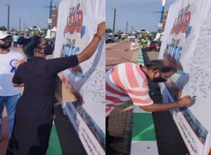'Save land-Save Vizag' sign campaign demands probe into land scam