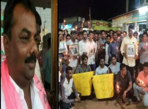 Protest across Moinabad against TRS leader Madhu Yadhav, accused in minor's rape