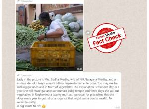 Fact Check: True, woman sorting vegetables at Raghavendra Mutt is Sudha Murthy