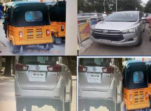 Innova car driver uses auto rickshaw no. plate to escape challans, held at KBR park