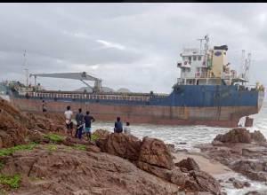 Vizag: Bangladeshi cargo ship drifts towards shore after losing anchor