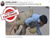Fact Check: Viral photo of BJP goon beating up cop in Bengal is from Uttar Pradesh