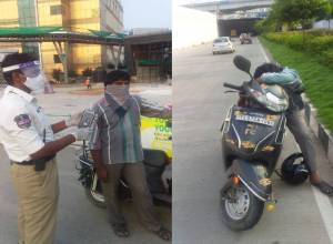 Tipsy man booked for sleeping on bike in middle of road at Madhapur