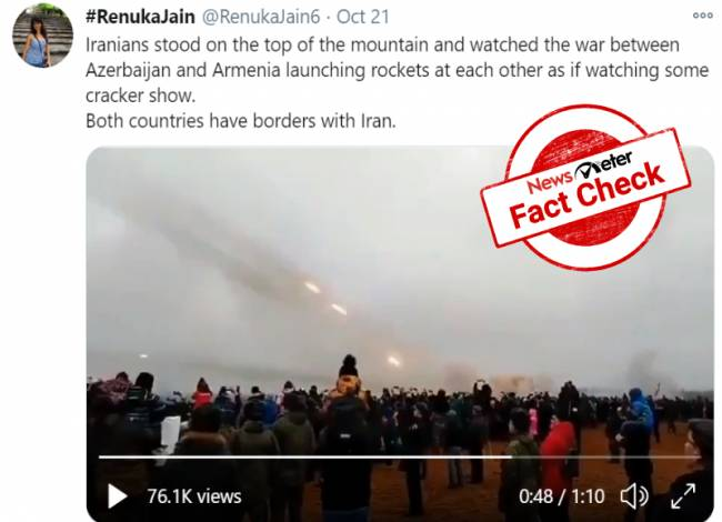 FACT CHECK: Video from Russia's Artillery Day falsely shared as Iranians watching Azerbaijan-Armenia conflict live.