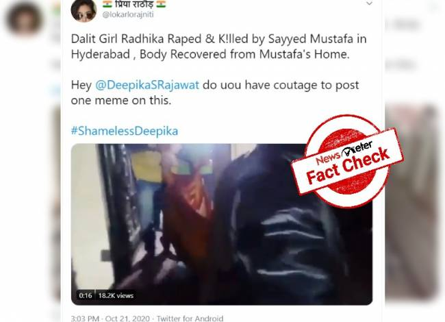 Fact check: No, Dalit girl was not murdered for religious reasons in Hyderabad.